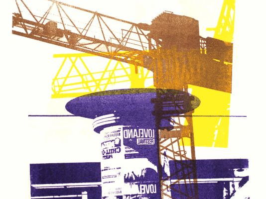 Collage in print art, mixture of a building crane and billboard - in the city Amsterdam, mono-print