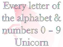 Unicorn Bulletin Board Letters and Numbers
