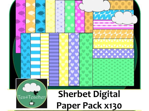 Sherbet Digital Papers Pack - 130+ Bright Candy Coloured Patterns to Choose From