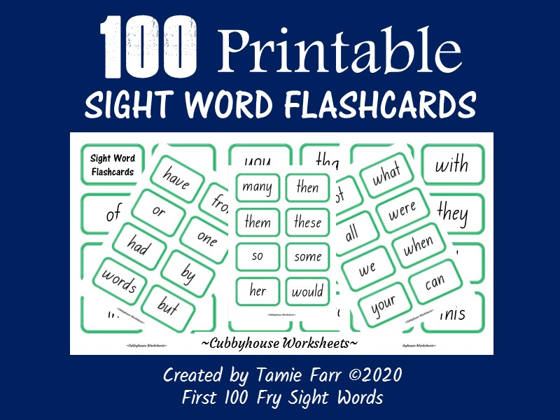 100 Printable Sight Word Flashcards