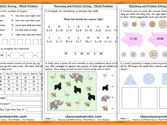 Mixed Problems Year 2 Spring Block 2 Reasoning and Problem Solving Pack
