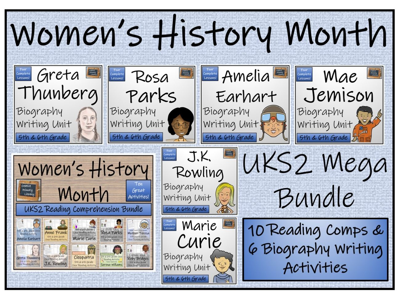 UKS2 Women's History Month Reading Comprehension & Biography Writing Mega Bundle