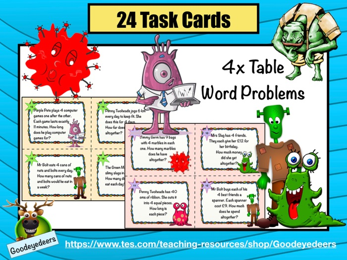Four Times Table Word Problems - Task Cards
