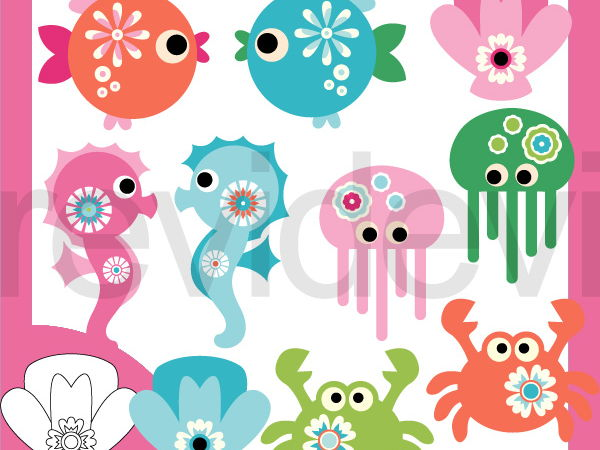 Under The Sea Animals Fantasy Pastel Colors Clip Art