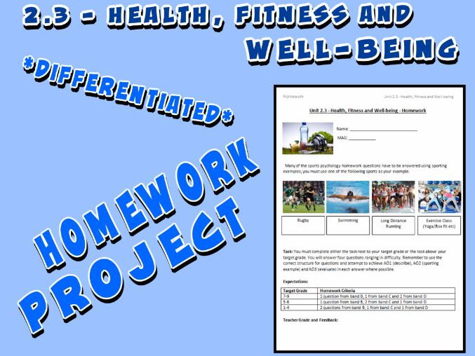 OCR GCSE PE 9-1 (2016) 2.3 - Homework Project - Health, Fitness and Well-being
