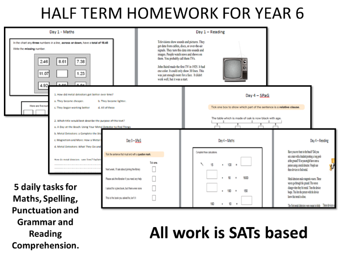 Half Term / End of Term  Year 6 Homework  - A SATs Based Booklet for Revision