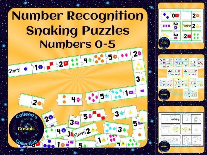Number Recognition Self-Checking Snaking Puzzle for Numbers 0-5