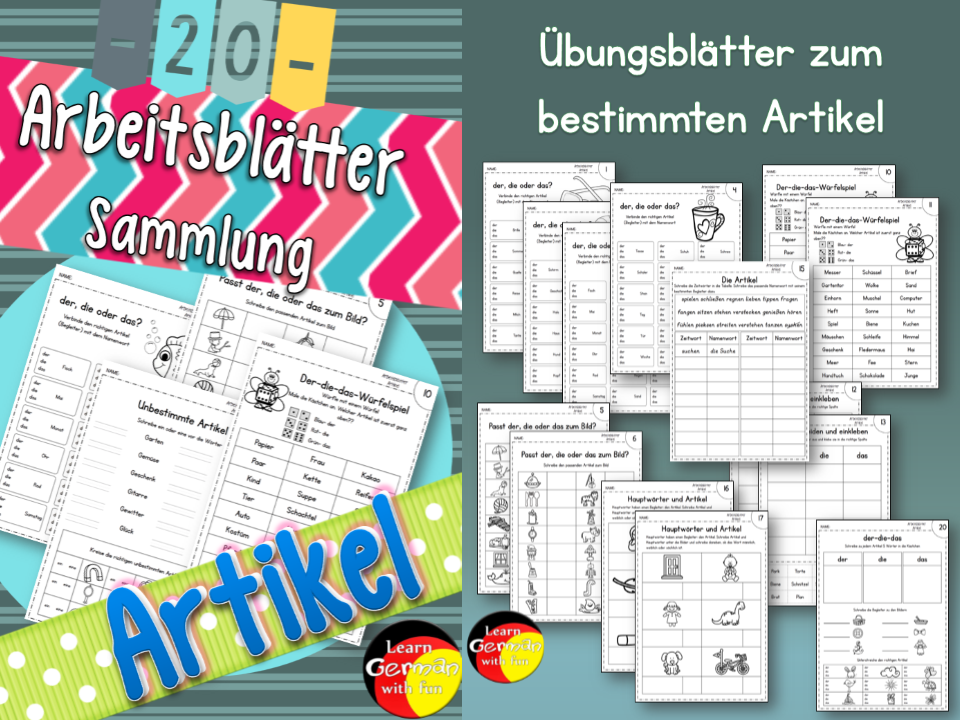 German Worksheets- Deutsche Arbeitsblätter zu den Artikeln- der die das