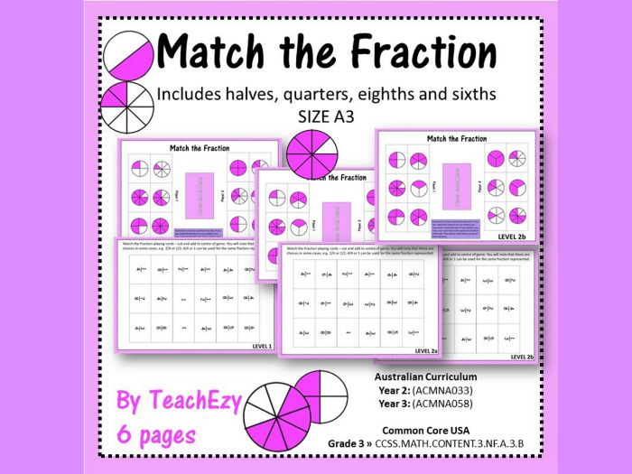 Match the Fraction Board Game