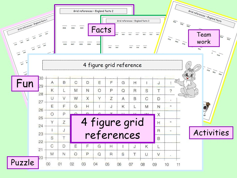 * 4 figure grid reference activities with A3 grid reference poster - four activities*