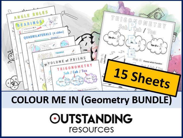 Colour Me In Sheets or Doodle Notes (GEOMETRY BUNDLE)