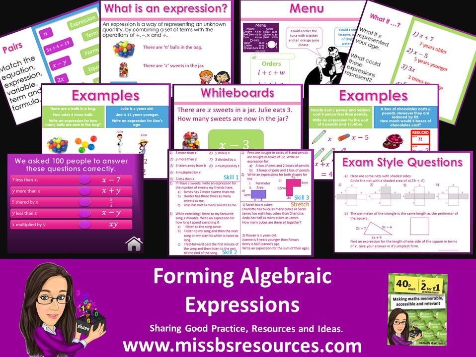 Forming Algebraic Expressions - Words & Shapes. Examples, Quizzes, Differentiated Q's and Exam Q's