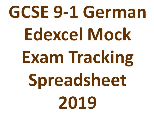 GCSE 9-1 German Edexcel Mock Exam Tracking Spreadsheet  2019