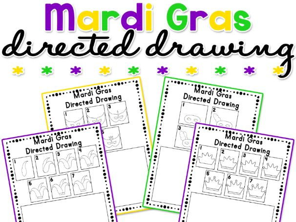 Mardi Gras Directed Drawing Activity Worksheets