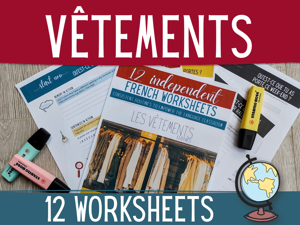 French clothes worksheets - 36 independent activities