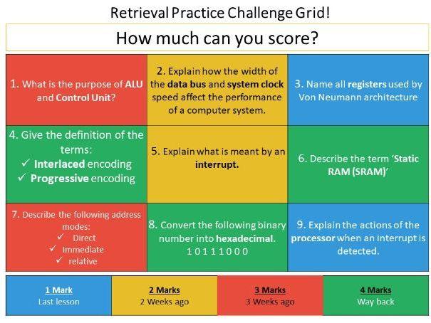 Starter - CPU/Number representation/Hardware/ - Retrieval Practice Challenge Grid