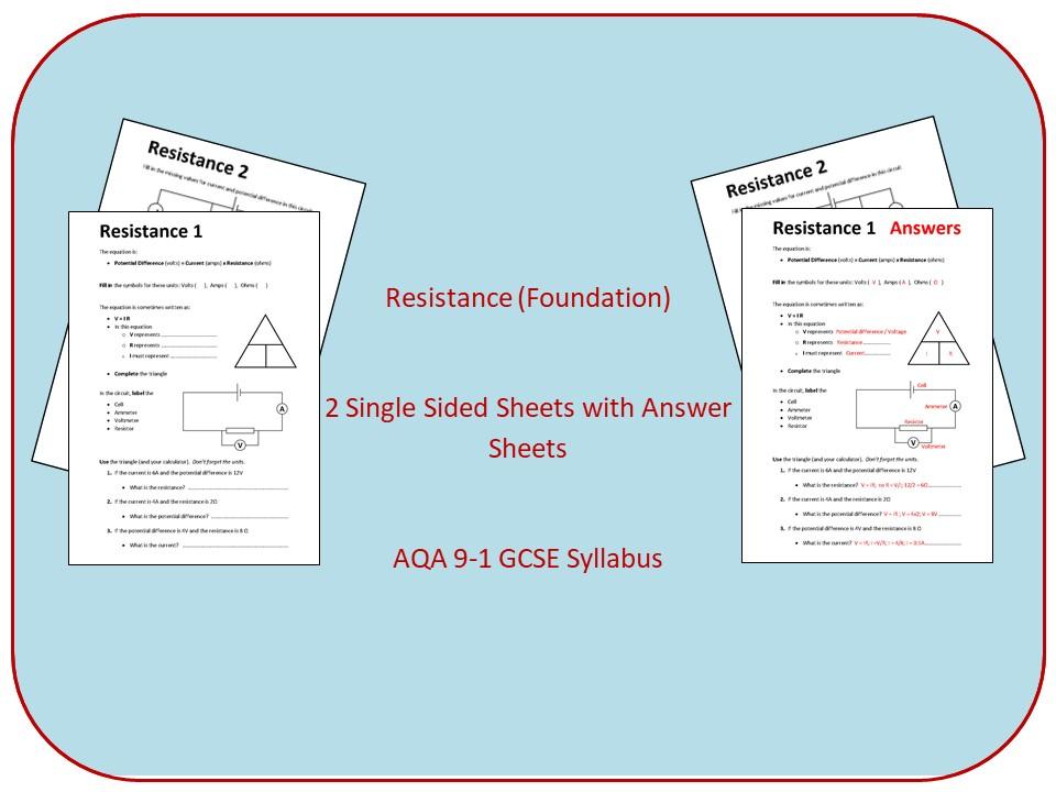Resistance worksheet (Foundation)