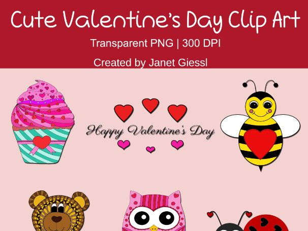Cute Valentine's Day Clip Art - Set of 6