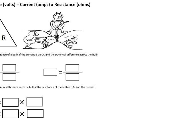 Differentiated Ohms law work sheets (V= I x R)  KS4