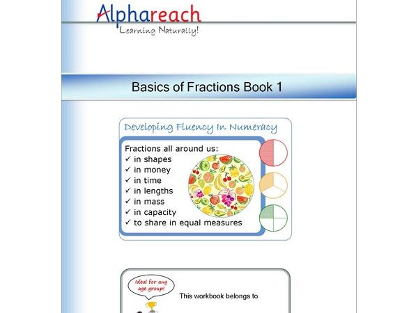 Pages from the Basics of Fractions Book 1