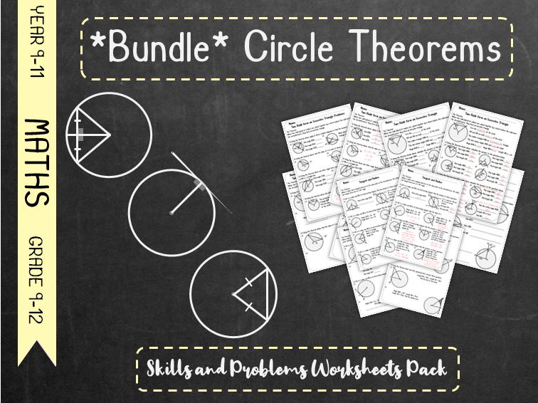 *Bundle* Circle Theorems - Skills and Problems Worksheet Pack *Bundle*