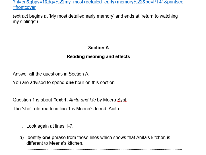 OCR-style English Language Paper 2 Practice Paper