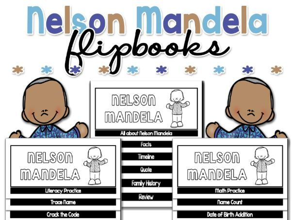 Nelson Mandela NO CUT Flipbooks Bundle