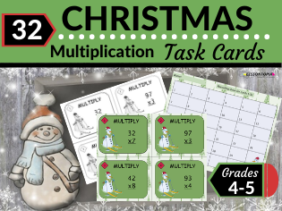 Christmas Math Task Cards-Multiplication With Regrouping