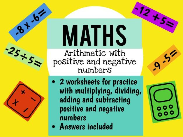 Arithmetic  with positive and negative numbers worksheet