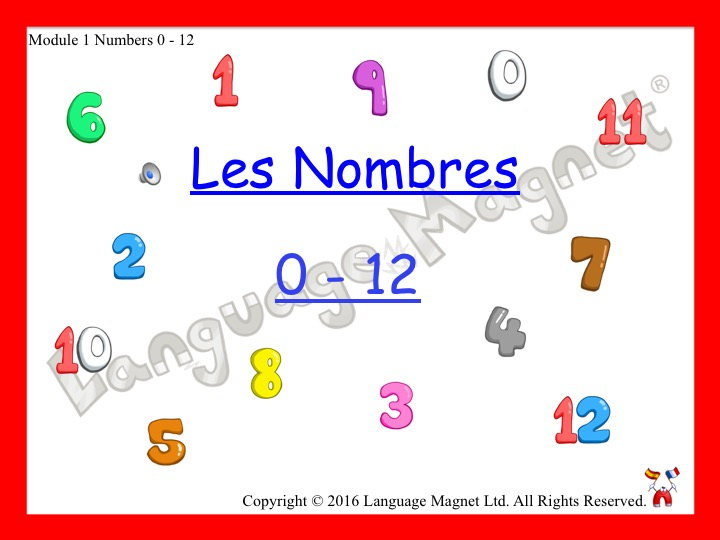 French Numbers 0 to 12 Presentation, Display Cards, Audio Sheet & Bingo Game