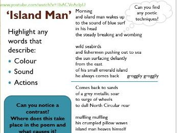 Island Man - KS3 poetry