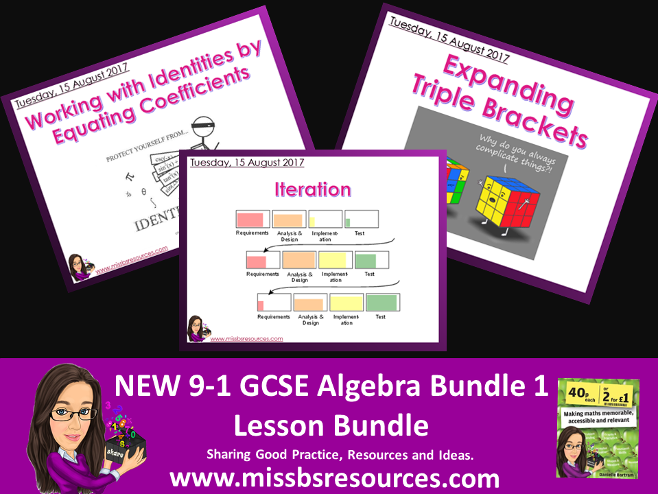 Three New 9-1 Maths GCSE Algebra Topics Lesson Bundle