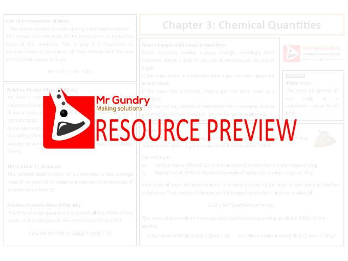 AQA Chapter 3: Chemical Quantities Revision Sheet
