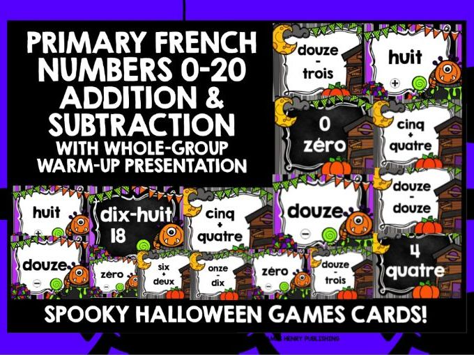PRIMARY FRENCH HALLOWEEN NUMBERS 0-20  CARDS