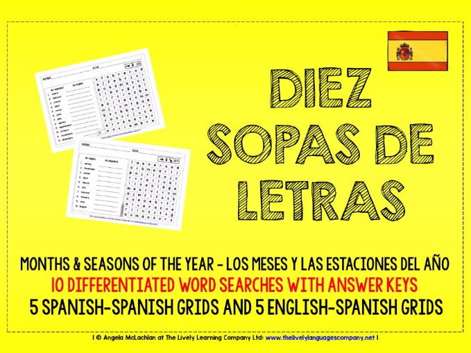 PRIMARY SPANISH - 10 DIFFERENTIATED WORD SEARCHES - MONTHS & SEASONS OF THE YEAR