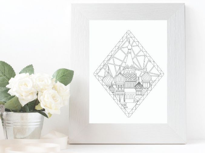 Russia colouring page with Diamond shape