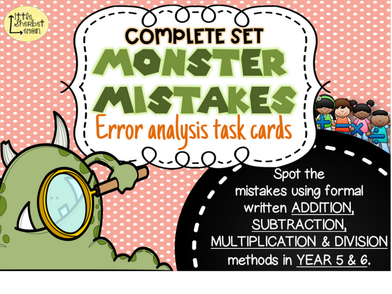 Error Analysis / Spot the Mistake Task cards for Written Methods Year 5 & 6