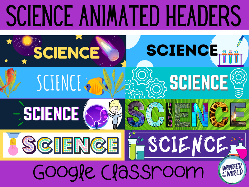 Science Google Classroom animated headers banners
