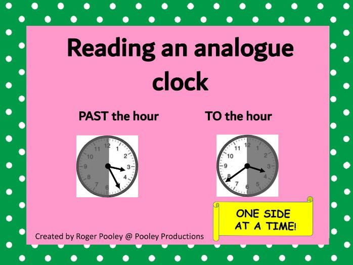 Reading an analogue clock - MINUTES PAST the hour, MINUTES TO the hour