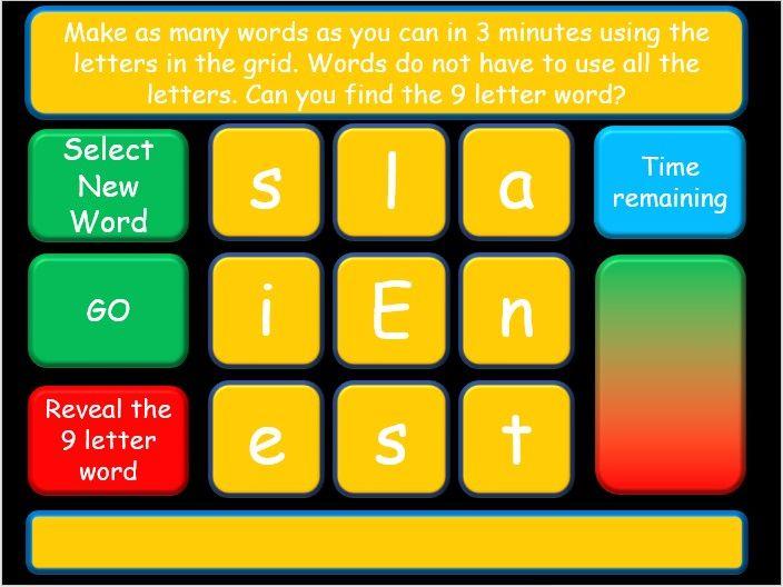Interactive Spelling Boggle Revision or Tutor Time Game. KS2 & KS3 English Language