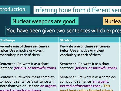 KS3 Non-Fiction Writing - Using Violent Imagery, Simple and Complex-Compound  (Nuclear Weapon Theme)
