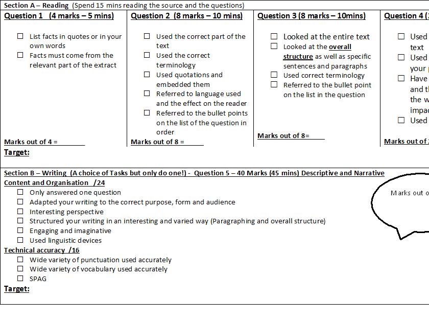 AQA Language Paper 1 & 2 Feedback Form