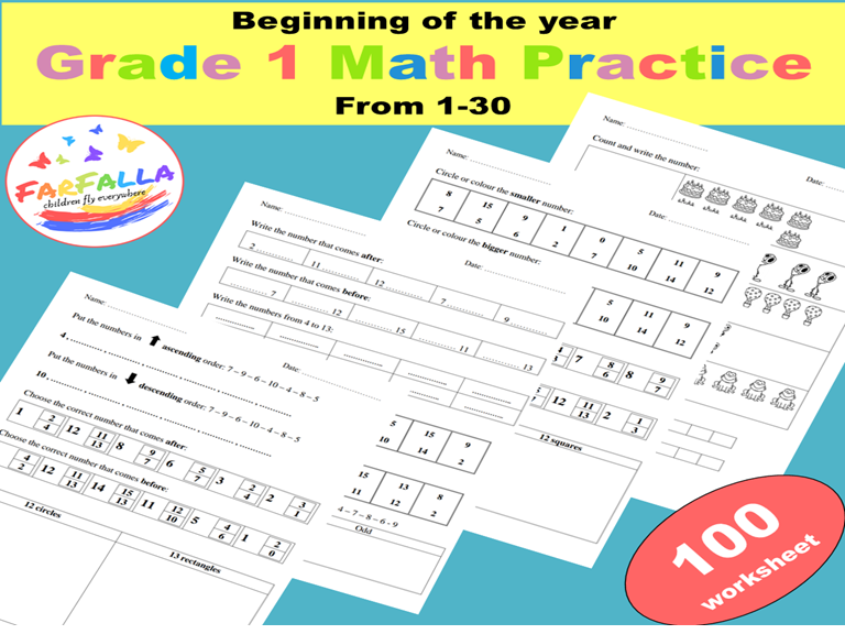 Math activities 1 to 30