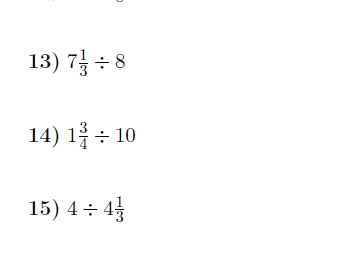 Dividing mixed numbers and whole numbers worksheet (with solutions)
