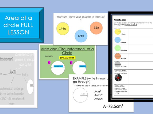 Area of a circle PowerPoint and worksheet