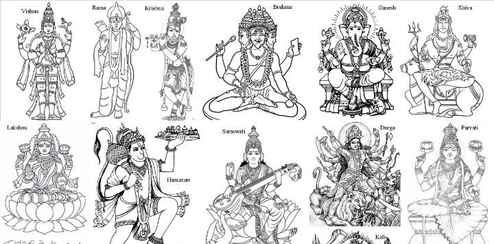 The Hindu Pantheon - colouring sheet
