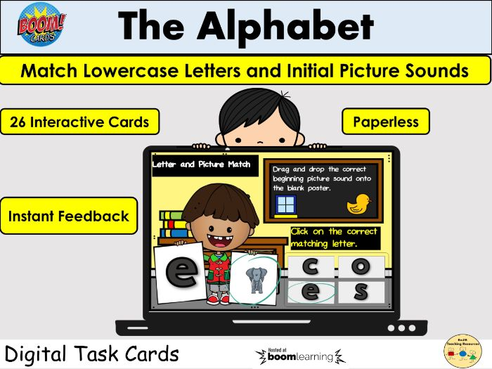 Alphabet Letter Matching Lowercase and Beginning Letter Pictures BOOM Cards Home Distance Learning