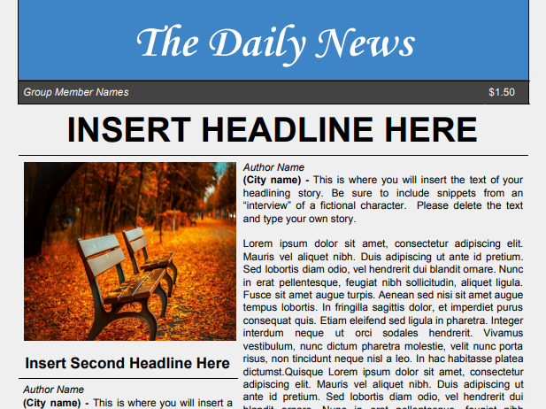 Newspaper Template for Google Docs
