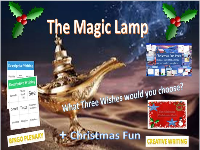The Magic Lamp Descriptive Writing Lesson + The Christmas Fun Pack and Quiz