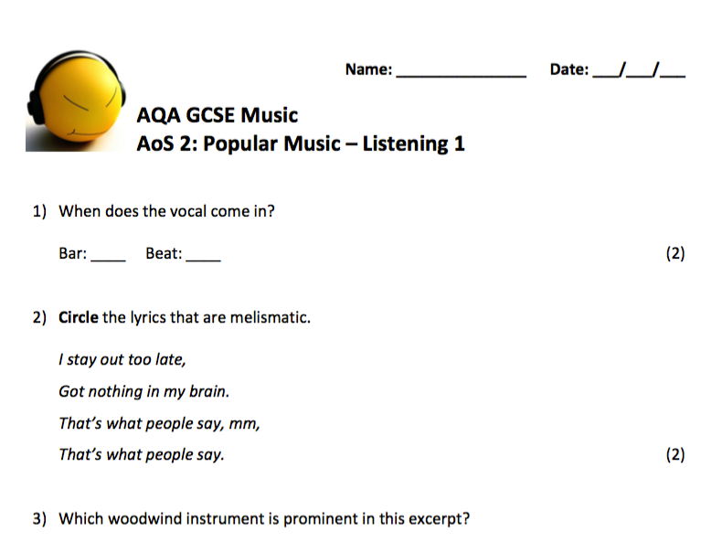 AQA GCSE Music (9-1) AoS 2: Popular Music - Listening practice